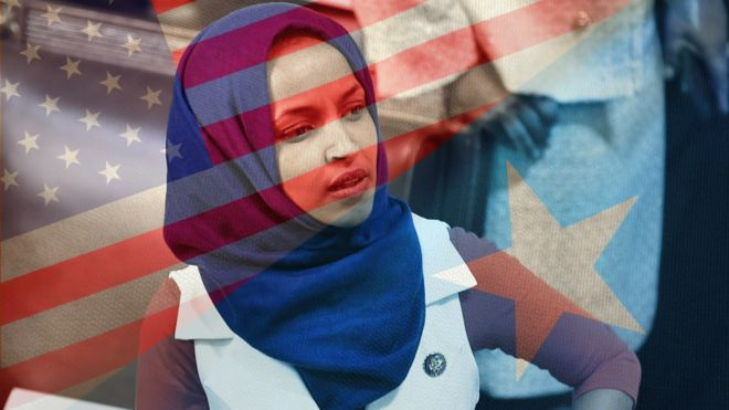 Ilhan Omar with the backdrop of the US and Somali flags