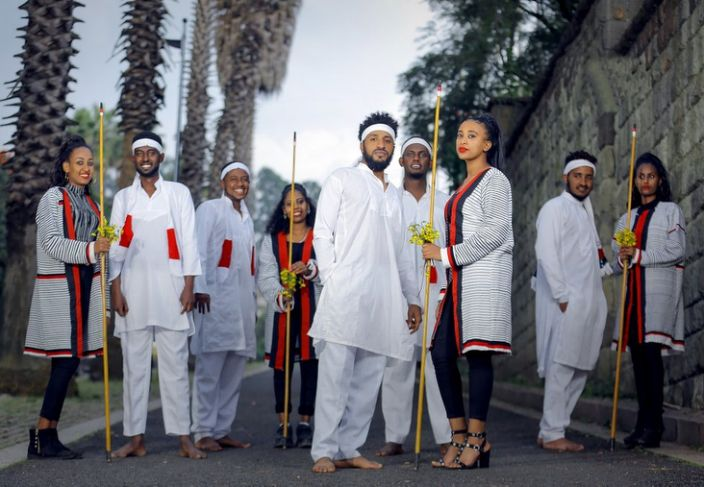 Group wearing traditional clothes