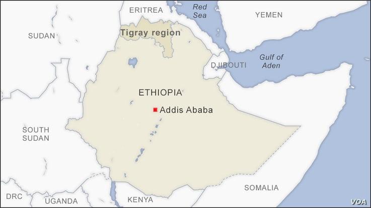 Map of Tigray region Ethiopia