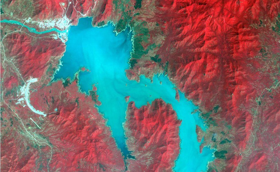 The Blue Nile River is seen as the Grand Ethiopian Renaissance Dam reservoir fills near the Ethiopia-Sudan border, in this broad spectral image taken November 6, 2020.