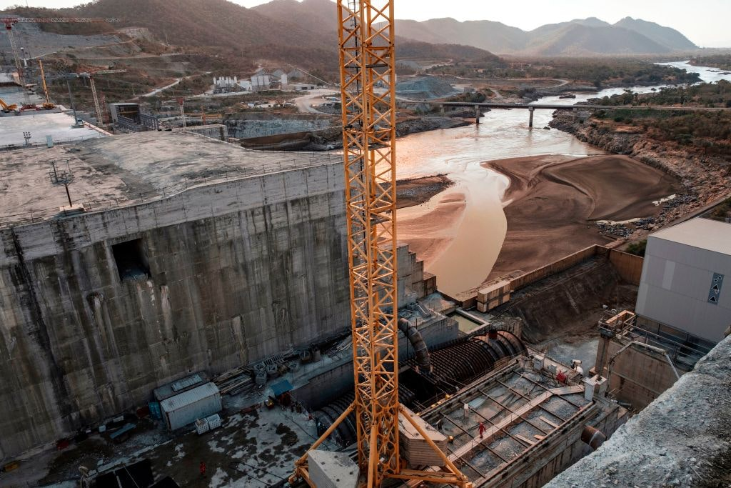 A general view of the Blue Nile river as it passes through the Grand Ethiopian Renaissance Dam in Ethiopia